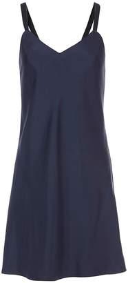 Tibi Mendini Twill Strappy Short Dress in Navy