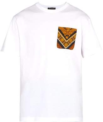 Versace Printed Pocket Cotton Jersey T Shirt - Mens - White