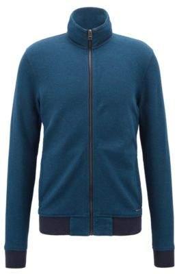 BOSS Hugo Zippered jersey jacket mesh structure M Open Blue