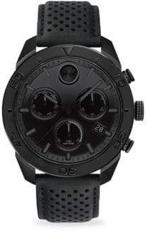 Movado Bold Round Ionic Plated Black Steel& Black Leather Chronograph Watch