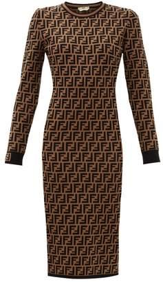 Fendi Ff Logo Jacquard Sweater Dress - Womens - Brown Multi
