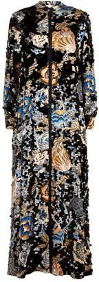Tory Burch Sequin Floral Maxi Dress