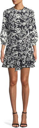 Tanya Taylor Mel Printed Ruched Silk Flounce Short Dress