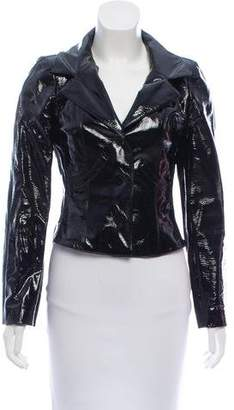 Chanel Patent Leather Notch-Lapel Jacket
