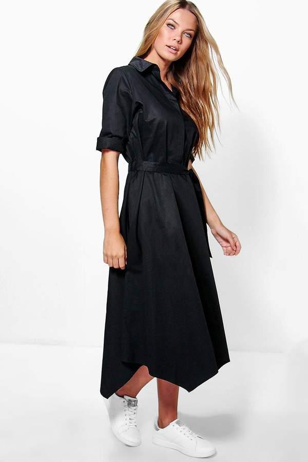boohoo Greta Asymmetric Hem Belted Shirt Dress