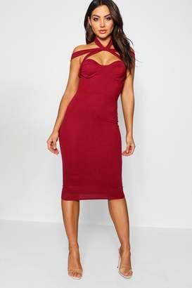 boohoo Rita Strappy Top Detail Midi Bodycon Dress