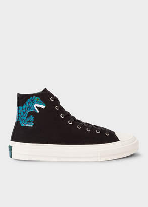 Paul Smith Men's Black Canvas 'Kirk' Trainers With Dino Print