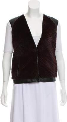 J. Mendel Leather Fur Paneled Vest