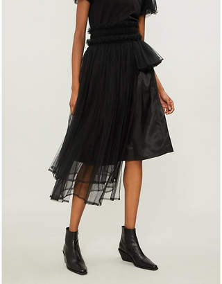 Noir Kei Ninomiya Asymmetric layered tulle skirt