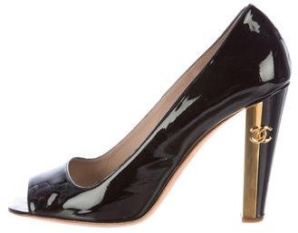 Chanel Patent Leather Peep-Toe Pump