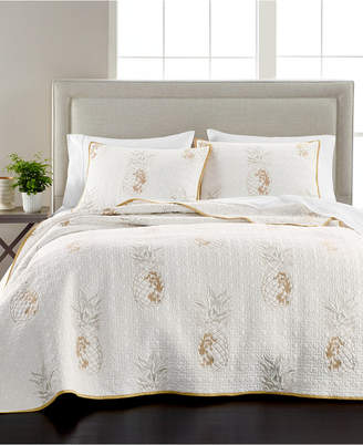 Martha Stewart Collection Embroidered Pineapple Full/Queen Quilt