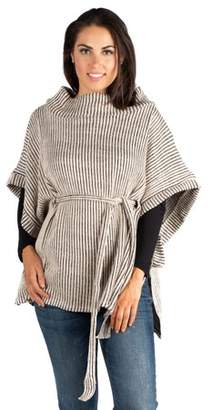 24seven Comfort Apparel Women's Belted Poncho Sweater Top