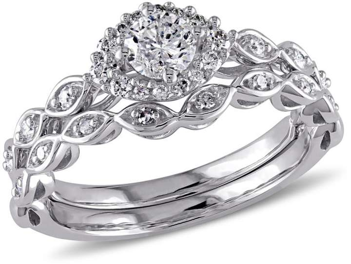 Delmar Jewelers 0.51ctw Diamond Infinity-Design Engagement Ring and Wedding Band 10K White Gold 2-piece Set