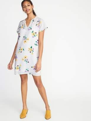 Old Navy Floral-Print Crepe Shift Dress for Women
