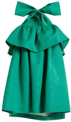 Msgm - Detachable Bow Tiered Faille Dress - Womens - Green