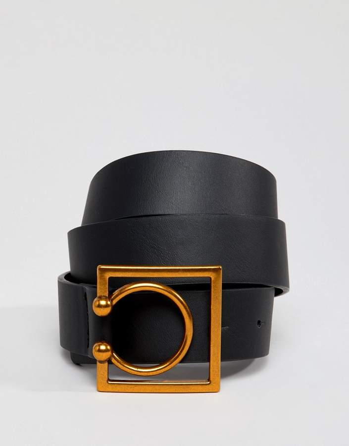 ASOS DESIGN square and circle buckle belt in old gold