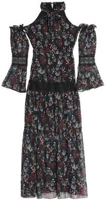 Nicholas Cold-Shoulder Floral-Print Silk-Chiffon Maxi Dress