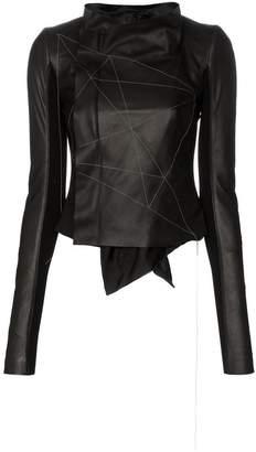 Rick Owens embroidered leather low neck biker jacket