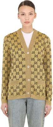 Gucci CRYSTAL LOGO INTARSIA WOOL KNIT CARDIGAN