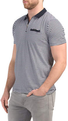 Short Sleeve Stripe Polo With Contrast Collar