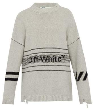 Off-White Off White Distressed Logo Purl Knit Sweatshirt - Mens - Grey