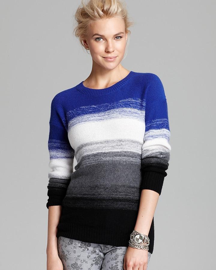 Aqua Cashmere Sweater - Ombre Stripe Pullover