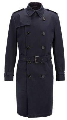 BOSS Hugo Double-breasted trench coat in water-repellent cotton 38R Open Blue