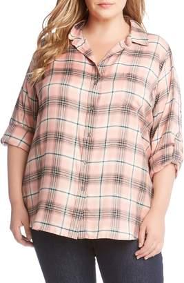 Karen Kane Roll Tab Plaid Shirt