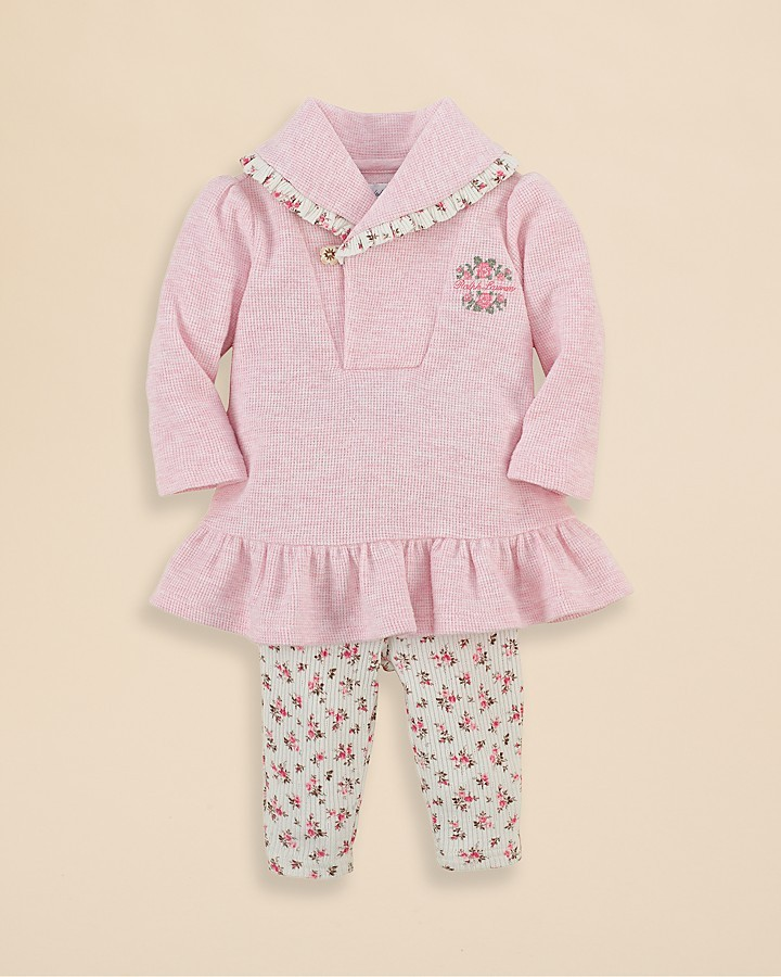 Ralph Lauren Infant Girls' Shawl Collar Dress and Floral Legging Set - Sizes 3-9 Months