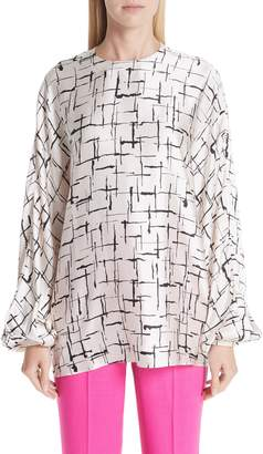 Roksanda Crosshatch Silk Satin Blouse
