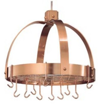 Old Dutch Satin Copper Dome Hanging Pot Rack with Grid & 16 Hooks