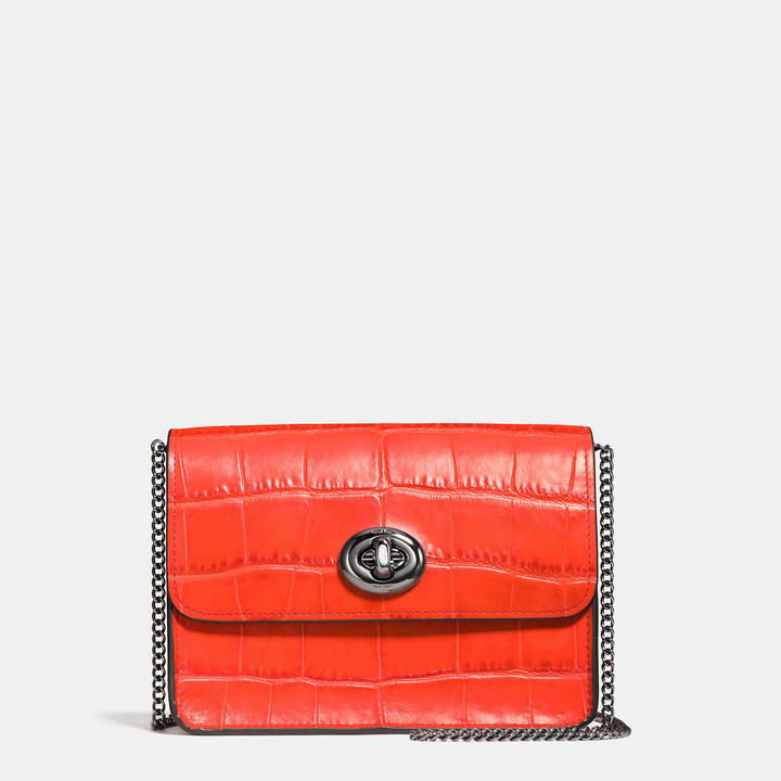 Coach  COACH Coach Bowery Crossbody In Croc Embossed Leather