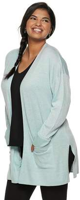 So Juniors' Plus Size SO Side Slit Open Front Cardigan