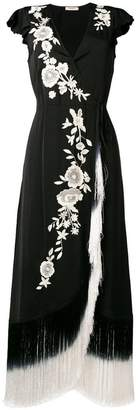 Twin-Set floral embroidered fringed dress
