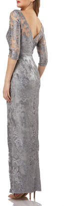 JS Collections Boat-Neck Elbow-Sleeve Embroidered Lace Illusion Gown