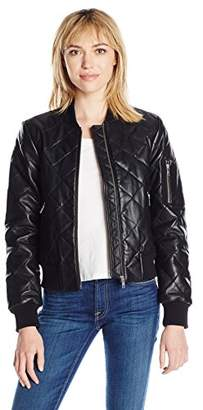 7 For All Mankind Women's Leather Bomber Jacket