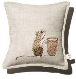 Coral & Tusk Mouse Embroidered Pocket Decorative Pillow, 7 x 7