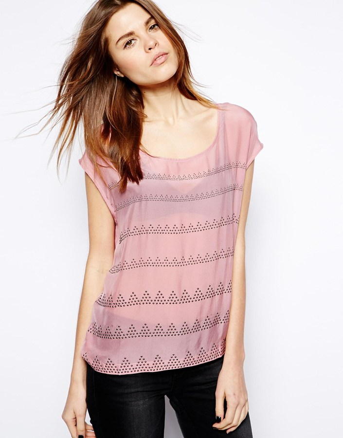 Selected Thorna Top with Stud Detail - Pink