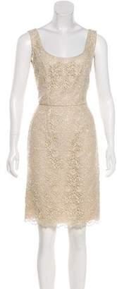 Valentino Lace Sleeveless Knee-Length Dress