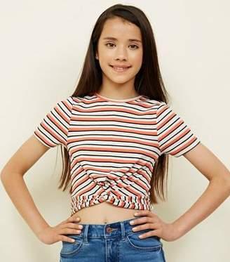 New Look Teens Orange Stripe Ribbed Twist Front T-Shirt