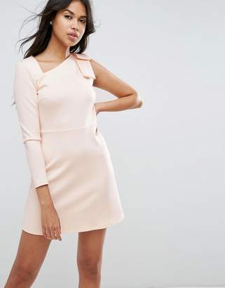 Asos Design Mini Scuba Dress with One Sleeve and Bow Shoulder Detail