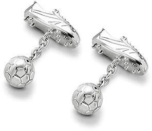 Aspinal of London Sterling Silver Football Boot Ball Cufflinks