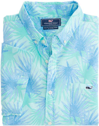 Vineyard Vines Short-Sleeve Electric Palm Slim Tucker Shirt