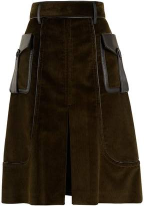 Prada Slit-front leather-trimmed cotton-corduroy skirt