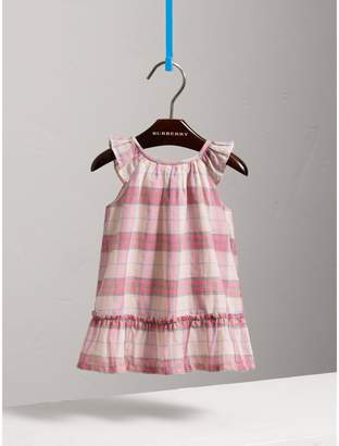 Burberry Gathered Check Cotton A-line Dress