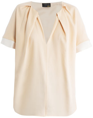Fendi Pleated neckline silk blouse