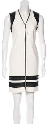 Yigal Azrouel Leather-Trimmed Bodycon Dress