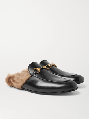 Gucci Princetown Horsebit Shearling-Lined Leather Backless Loafers