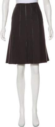 Armani Collezioni Leather-Trimmed Knee-Length Skirt