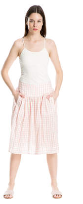 Max Studio double-weave cotton check skirt